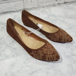 Jaclyn Smith Slip On Flats 10 Brown Gold Studded